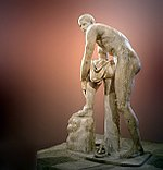 Hermes Fastening his Sandal, Roman marble copy of a Lysippan bronze (Louvre Museum)