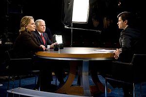 George Stephanopoulos - Secretary of Defense Robert M. Gates and Secretary of State Hillary Clinton talk with George Stephanopoulos in December 2009 in Washington, D.C..