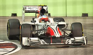 2011 Singapore Grand Prix - Narain Karthikeyan drove in the first free practice session for HRT.