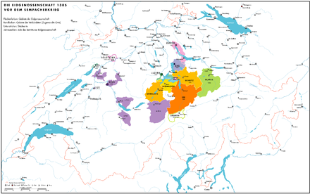 The Swiss Confederacy before the Battle of Sempach (1387) Historische Karte CH 1385.png