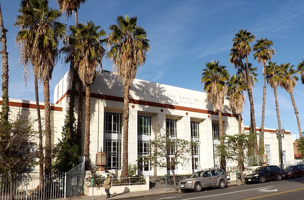 Hollywood, California, post office building, with palm trees, 2015
