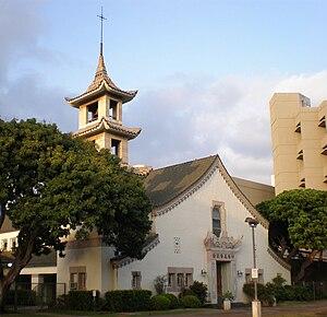 Hart Wood - Image: Honolulu First Chinese Churchof Chr towertop