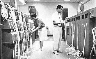 Tape relay - Paper tape relay operation at US FAA's Honolulu flight service station in 1964