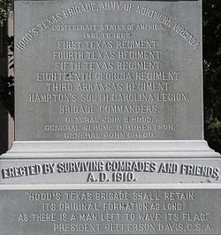 Hood's Texas Brigade monument in front of Texas State Capitol-inscription.JPG