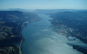 Aerial shot of Hood River, Oregon and the Colu...
