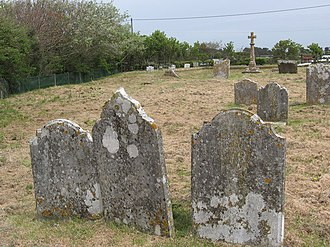 Hordle - Graveyard at Hordle Cliff, and site of the original church