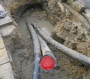 Pipes layed by a horizontal drilling machine