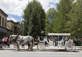 Horse-and-buggy tourist jitney outside Blue River Plaza in downtown Breckenridge, Colorado LCCN2015633641.tif