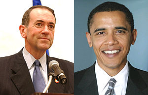 Photos of Obama and Huckabee from Image:ObamaB...