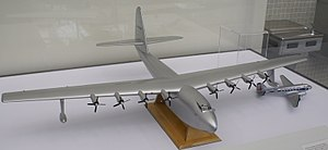 Hughes H-4 Hercules - Size comparison between the H-4 and a Douglas DC-3.