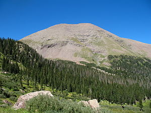 Humboldt Peak (Colorado) - Humboldt Peak (left of center) seen from Westcliffe, Colorado