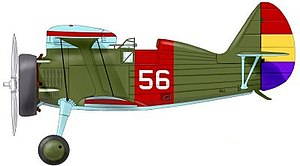 Spanish Republican Air Force - The Chato No. 56 flown by Frank Glasgow Tinker in the 1st Sq Lacalle. He scored four victories in this aircraft. Occasionally he flew No. 58 as well.