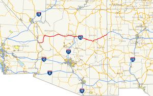Interstate 40 in Arizona - Image: I 40 (AZ) map