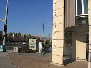 I-880/Milpitas station - A view outside the entrance to I-880/Milpitas Station