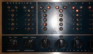 Bi-quinary coded decimal - Close-up of IBM 650 indicators