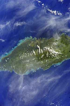 Tuamasaga - Satellite image of Upolu island showing Tuamasaga district. (NASA photo, 2006