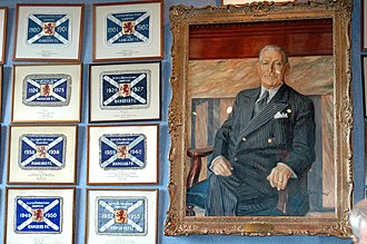History of Rangers F.C. - The portrait of Bill Struth within the Ibrox trophy room