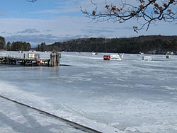 Ice fishing structures on Alton Bay in Lake Winnipesaukee, 2010