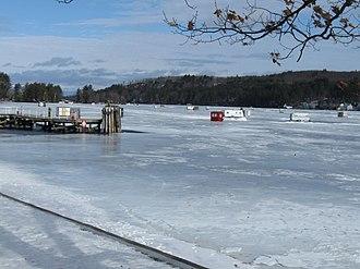 Alton Bay, New Hampshire - Ice fishing structures on Alton Bay in Lake Winnipesaukee, 2010
