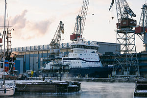 Polaris (icebreaker) - Polaris under construction at Arctech Helsinki Shipyard.