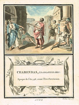 Charondas - French illustration from 1787 depicting the suicide of Charondas, as described by Diodorus Siculus