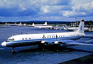 Balkan Bulgarian Airlines - Ilyushin Il-18 of Bulair at London Gatwick Airport in 1969