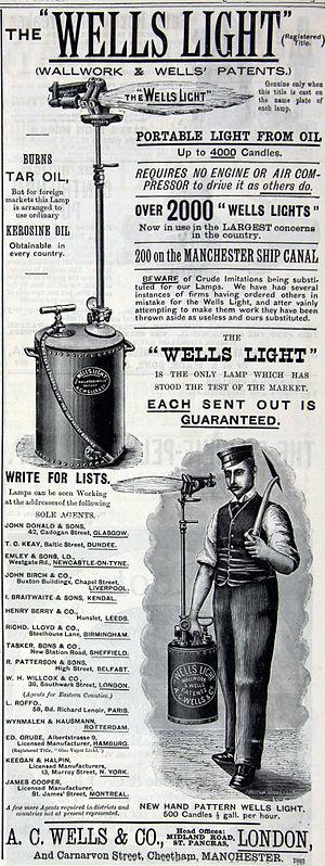 Wells light - Advertisement, c. 1890