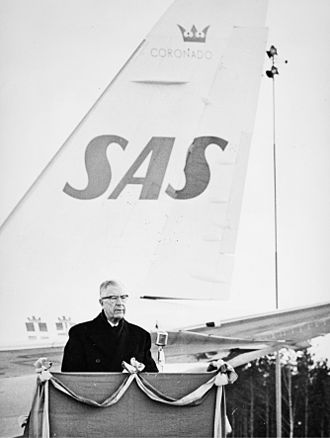 Stockholm Arlanda Airport - King Gustaf VI Adolf presiding over the ceremony which officially inaugurated Stockholm–Arlanda Airport (1 April 1962)
