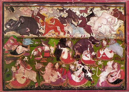 An 18th century Indian miniature depicting women practising zoophilia in the bottom register. - Zoophilia