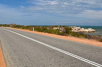 Indian Ocean Drive - View south towards Leeman, 2014.