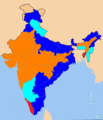 Indian states according to party of their chief minister ASDS.png