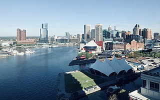 Inner Harbor Neighborhood of Baltimore in Maryland, United States