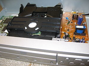 English: Inside a DVD player