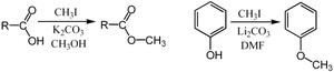 Methylation - Methylation of a carboxylic acid salt and a phenol using iodomethane