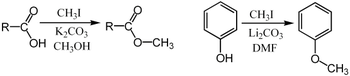 Methylation of a carboxylic acid salt and a phenol using iodomethane