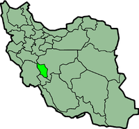 Map of Iran with चहार्महाल और बाख़्तियारी highlighted.