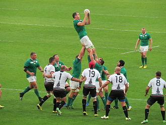 Devin Toner - Toner winning a lineout for Ireland against Romania during the 2015 Rugby World Cup