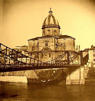 San Giovanni dei Fiorentini - Iron bridge at San Giovanni dei Fiorentini, ca. 1890. The bridge was built in 1827 and demolished in 1941.  Photo by Giuseppe Primoli.