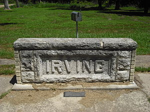 Marshall County, Kansas - The Irving stone marker southeast of Blue Rapids.