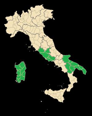 Bombino nero - Regions of Italy where the Bombino nero is grown.