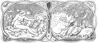 Eggthér - Illustration by Lorenz Frølich: Eggthér and Fjalar on the right, Járnviðr on the left