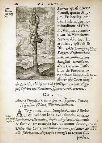 Crux simplex - Crux simplex on an illustration of Justus Lipsius in De Cruce Libri Tres, 1594, pp. 10.