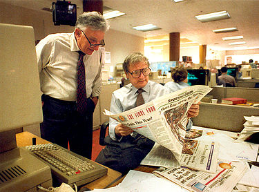 Bill German (left), the Chronicle's editor emeritus, and Page One editor Jack Breibart in the newsroom, March 1994 Jack Breibart and Bill German.jpg