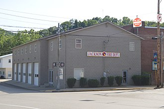National Register of Historic Places listings in Breathitt County, Kentucky - Image: Jackson Fire Department from east