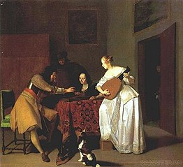 Backgammon players and woman playing the lute in an interior, 1671 gedateerd