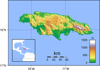 Outline of Jamaica - An enlargeable topographic map of Jamaica