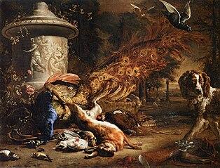 Nature morte au paon et au chien