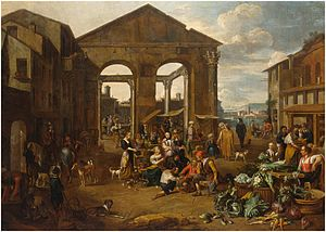 Jan van Buken - Italianate Market Scene