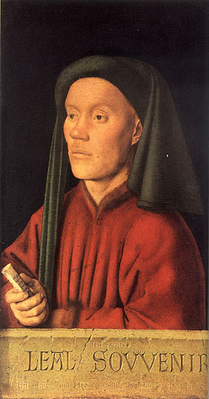 Liripipe - Portrait of a Young Man (Tymotheos) by Jan van Eyck, 1432. The liripipe is draped forward at left (subject's right).