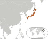 Location of Japan on the world map